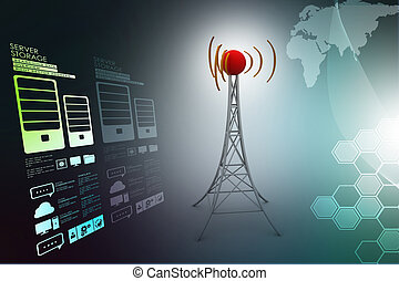 signaal toren, met, networking