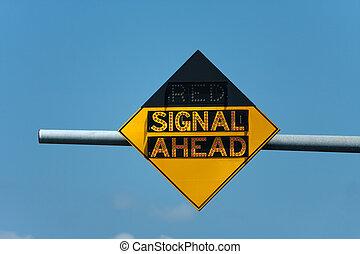 signaal, verkeer, rood, vooruit, meldingsbord