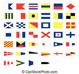 signaal, vrijstaand, maritiem, internationaal, achtergrond, nautisch, vlaggen, witte