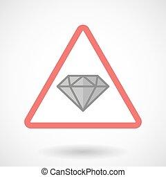 signaal, waarschuwend, diamant