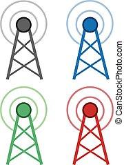 signaal, wifi, kleuren, toren