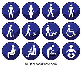 signage, állhatatos, gépel, ikon, emberek