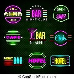 signage, 広告, 白熱, レトロ, neon., ベクトル, ホテル, アメリカ人, クラブ, 夜, 紋章, バッジ