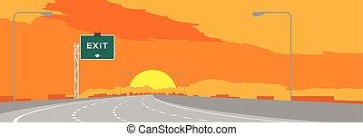 signage, ciel, illustration, signe, autoroute, surise, arrière-plan vert, temps, orange, sortie, coucher soleil, ou, autoroute