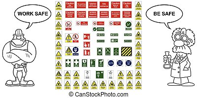 Construction industry hazard warning signs and office signs collection