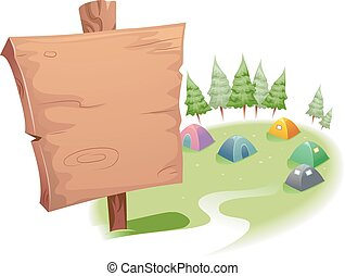 signage, hölzern, campingplatz