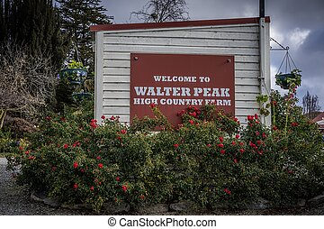 Signage of Walter Peak High Country Farm, New Zealand
