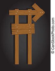 signage, retângulo, madeira