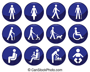 Signage type people icon set