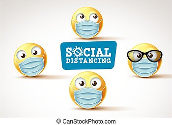 signage., vector, o, emojis, emoticons, social, cara, distancia, smiley, máscara, emoji