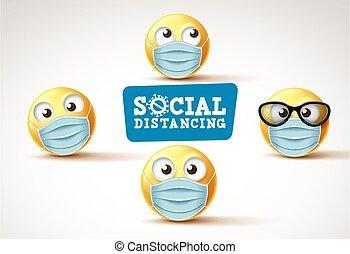 signage., vektor, oder, emojis, emoticons, sozial, gesicht, ...