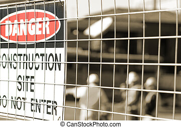signage, y, trabajadores construcción