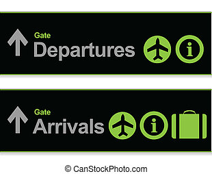 Signal arrival - departures from the airport illustration design