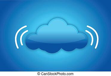 signal, begriff, daten, wolke, rechnen