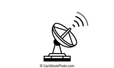 signal, espace, radar, envoi