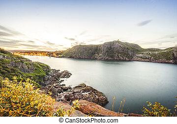 Signal Hill and illuminated St John's, Newfoundland, Canada...