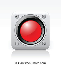signal, isolerat, illustration, singel, vektor, röd, ikon