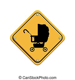 signal preventive with black silhouette baby carriage