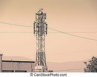 signal, réception, tour, de, a, mobile, compagnie