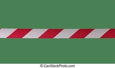 Signal red and white stripes, artificial fence to restrict. It is forbidden to cross the danger zone. Quarantine precautions. Close up in slow motion