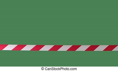 Signal tape white red on green screen chroma key. Hazard warning, quarantine zone. Close up in slow motion