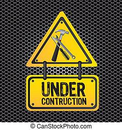signal under construction, metal grid background, vector ...