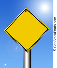 Yellow signal over blue and ligth background. Illustration
