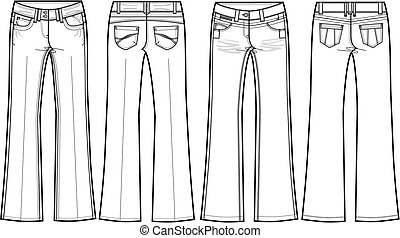 signalljus, damen, jeans