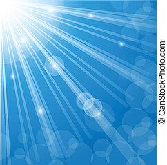 signallys, baggrund, abstrakt, blå, linser