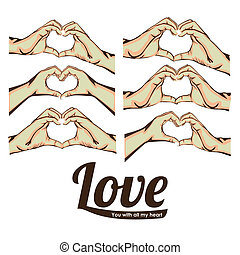 love - signals of love over white background vector...