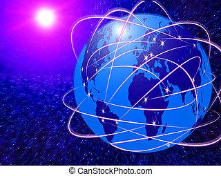 signaltjänst, global, teknologi, internet