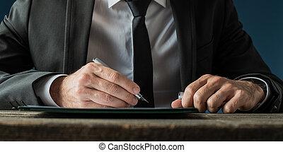 signant document, homme affaires