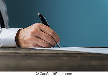 signant document, ou, homme affaires, avocat