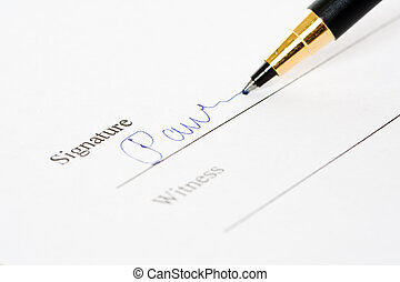 Signature - A shot of of a document signing