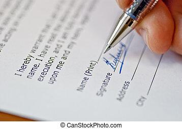 signature an agreement