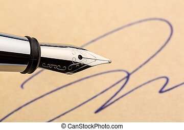 signature and fountain pen - a signature and a fountain pen ...