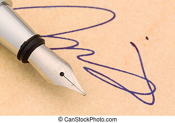 signature and fountain pen