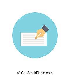 signature flat color icon