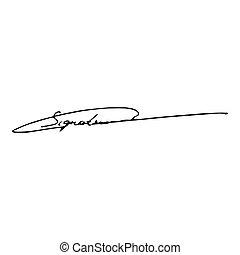 Signature handwriting icon black color vector illustration flat style image
