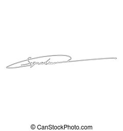 Signature handwriting icon outline black color vector illustration flat style image