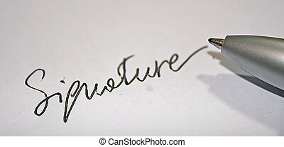 """signature"""" in white paper and black pen contract"""