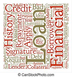 Signature Loans A Blank Cheque to Your Name text background word cloud concept