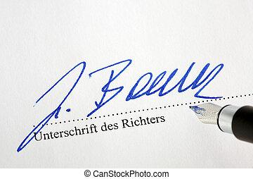 signature of a judge under a judgment