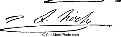 Signature of Louis Lazare Hoche  (1768-1797), vintage engraving.
