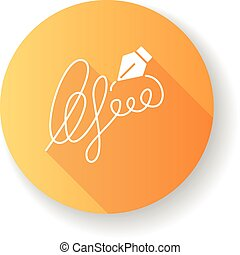 Signature orange flat design long shadow glyph icon. ...