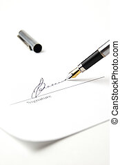 Signature - Pen and signature page. White tone