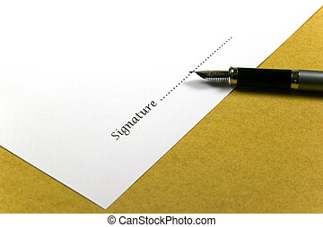 Signature - Piece of white paper with the word Signature and...
