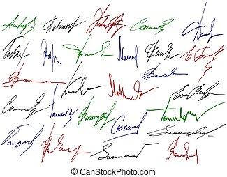 Signature writing signs - colorful design