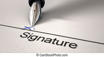 Signature X And Fountain Pen