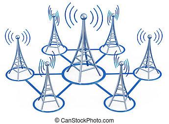 signaux, émetteurs, sends, élevé, numérique, tour